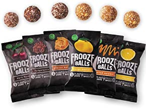 Frooze Balls Plant Protein Powered Fruit & Nut Energy Balls, Variety Pack Gift Box (Pack of 6) Each Pack Has 5 Balls!