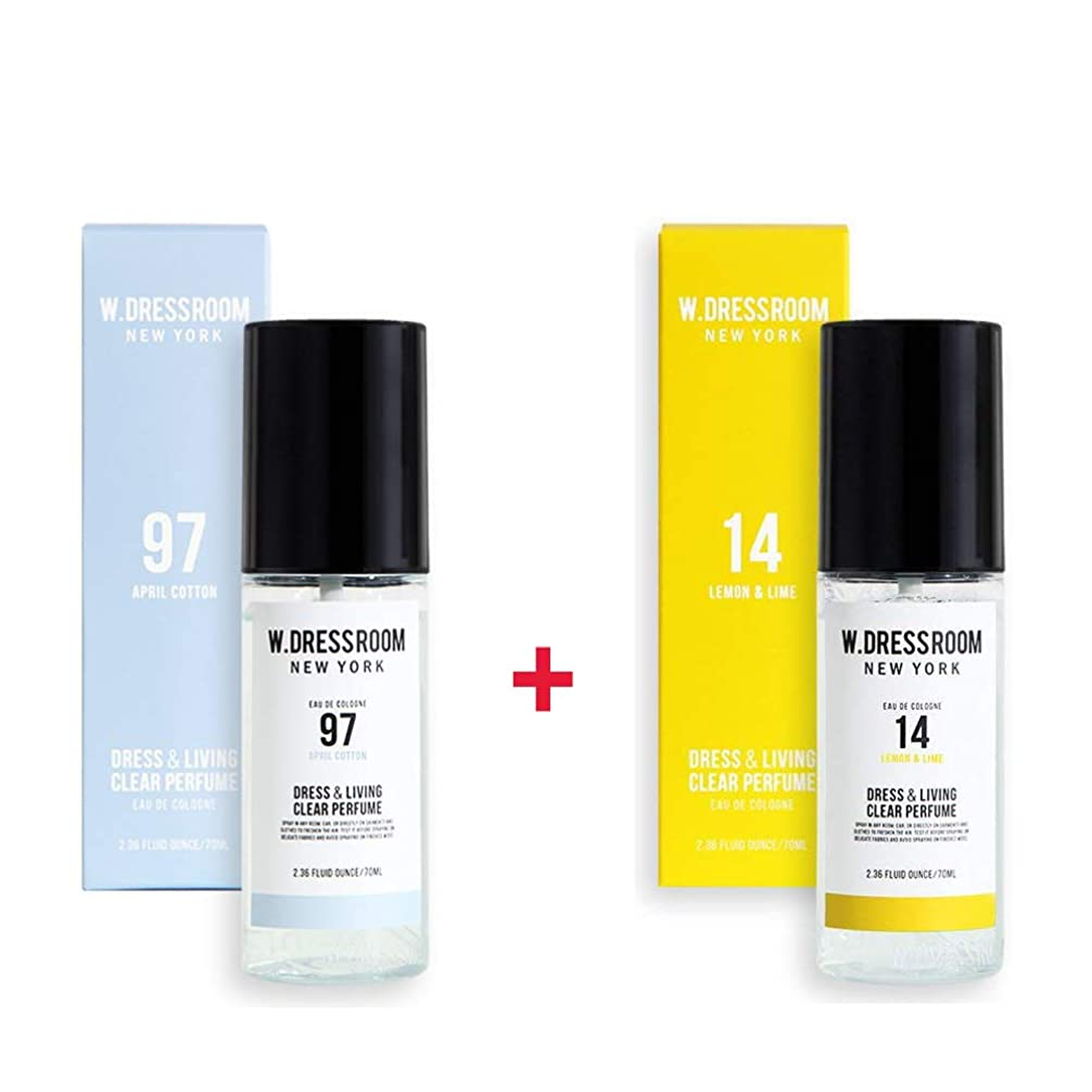 容器許される青W.DRESSROOM Dress & Living Clear Perfume 70ml (No 97 April Cotton)+(No 14 Lemon & Lime)