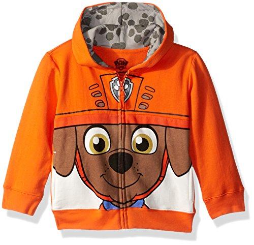 Nickelodeon Toddler Boys' Paw Patrol Character Big Face Zip-Up Hoodies, Zuma Orange,