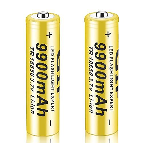 Bateria 18650 Pilas Recargables 3.7V 9900mAh Li-Ion TR 1200Ciclos Larga Vida Alto Drenaje 18650 Recargable Batería Linterna LED Lámpara de Cabeza, 65 * 18mm (2 Piezas)