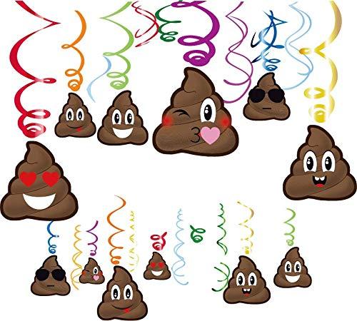 Sayala 30 Stücke Emoji-Poop Smiley Geburtstag Dekorationen, Funy Poop Emoji Happy Birthday Dekorationen Mädchen Kinder Jungen Erwachsene Teenager Geburtstag Party Supplies