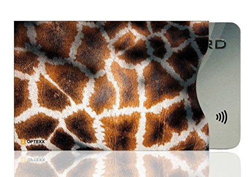 OPTEXX® 1x RFID Schutzhülle Giraffen Fell | TÜV geprüft & zertifiziert für Kreditkarte | EC-Karte | Personal-Ausweis Hülle sicheres Blocking von Funk Chips