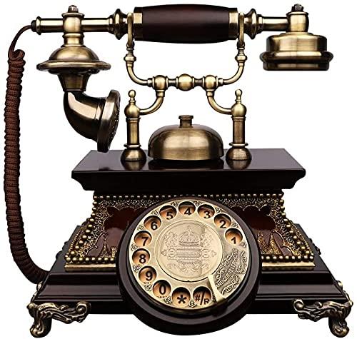 Clásico europeo retro teléfono fijo teléfono antiguo teléfono europeo retro madera sólido rotativo viejo sala de estar casa tarjeta inalámbrica teléfono teléfono fijo decorativo decorativo casa / rega