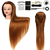 Hairdressing Head, 28-30in Mannequin Manikin Head, 100% Synthetic Fiber Hair Training Cosmetology Doll Head, ORGUJA Gold Hairdressers Styling Model with Clamp + Practice Tools