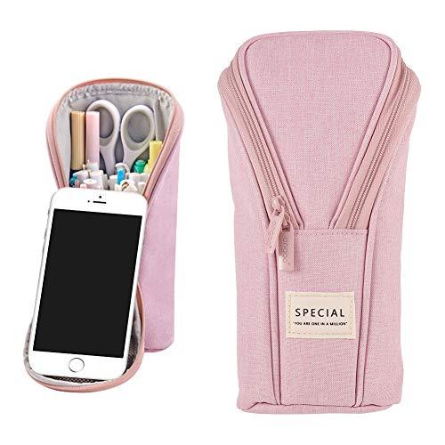 FANKUTOYS Pencil Case,Stand Up Pencil Case,Canvas Pencil Holder,Phone Holder Mobile Phone Bracket Function Desk Organizer Makeup Cosmetic Bag(Pink)