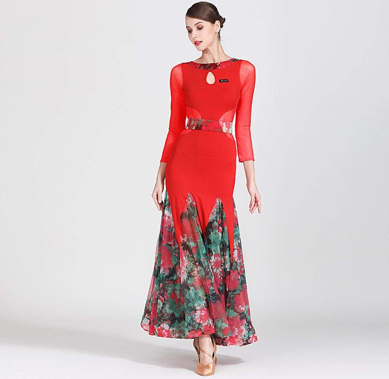 Z&X Modern Dance Dress for Women Large Pendulum Skirt Ballroom Costume Competition Nylon Ice Silk   40D Printing Mesh