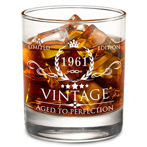 60th Birthday Gifts for Men - 60th Birthday Decorations for Men, Party Supplies - 60th Anniversary Gifts Ideas for Him, Dad, Husband, Friends - 11oz Whiskey Glass