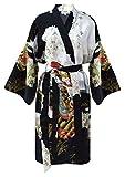 Kimono Mujer japonesa negro - bata corta elegante de satén