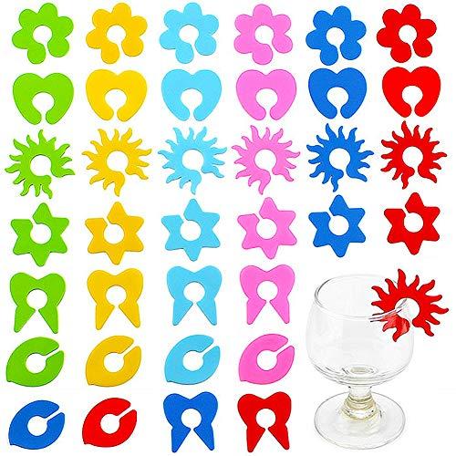 Silicone Segnabicchieri,COTEY 12 Pezzi Anelli Segnabicchiere in Silicone Colorato Calici,Segnabicchieri in Silicone Riutilizzabili Calice di Colore Misto Calice,Anello in Vetro di Vino per Bicchiere d