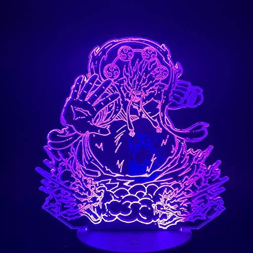 Lámpara de ilusión 3D LED de luz nocturna de una sola pieza D. Ruffy Gear, cuarta fuerza, anime, Ruffy, cambio de color visual, lámpara de mesa de regalo para niños