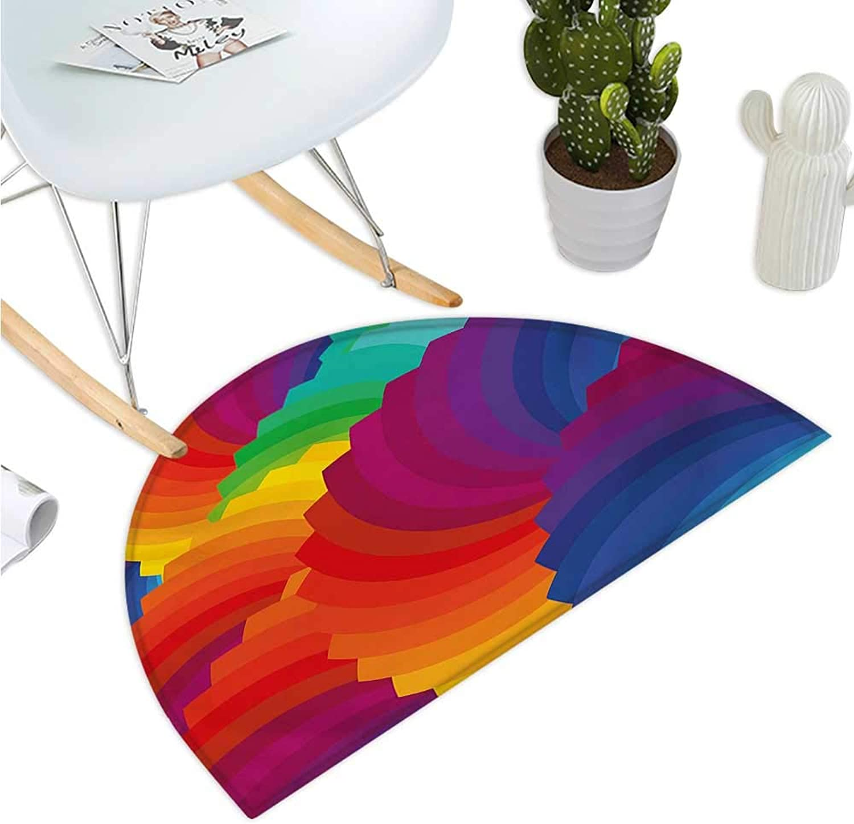 colorful Half Round Door mats Modern Gradient Dash Sea Shell Inspired Wavy Dimension Palette Stripes Artisan Entry Door Mat H 35.4  xD 53.1  Multicolor