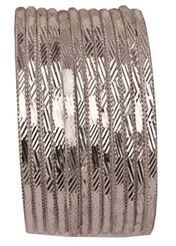 Touchstone Armreifsammlung reiches glattes hübsches Schnittarbeitsentwerfer-Schmuck-Armreifarmbänder für Damen 2.37 Set von 12 Silber Weiss