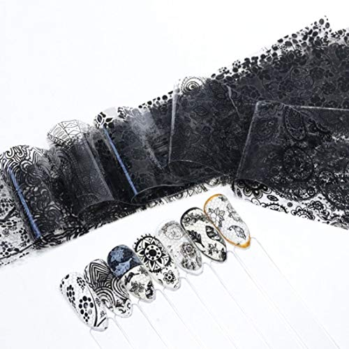 MEIYY Autocollant D'ongle 16Pcs Nail Art Foil Or Noir Blanc Argent Dentelle Fleur Vigne Transfert Papier Wraps Décor Manucure
