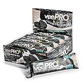 Vegane Proteinriegel veePRO   20g Eiweiß, 27% Ballaststoffe   Low Carb Eiweißriegel   Gesunder & leckerer Snack, milchfreier Schokoladenmantel, Fitness- und Sportnahrung – 12 Riegel (Cookies & Cream)
