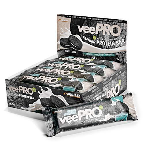 Vegane Proteinriegel veePRO | 20g Eiweiß, 27% Ballaststoffe | Low Carb Eiweißriegel | Gesunder & leckerer Snack, milchfreier Schokoladenmantel, Fitness- und Sportnahrung – 12 Riegel (Cookies & Cream)