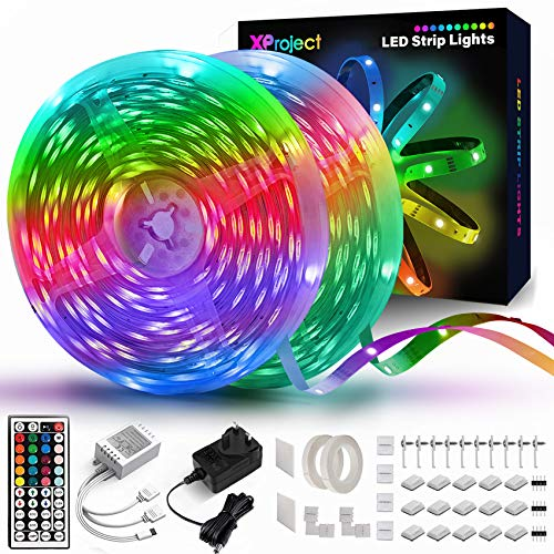 XProject 65.6 Feet Led Strip Lights, Led Lights for Bedroom, Color Changing Lights with Remote(2 Rolls of 32.8ft)