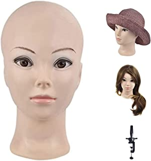 Bald Female Make up Manikin Head Cometology Mannequin Head for Wig Making and Dispay with a Free Clamp