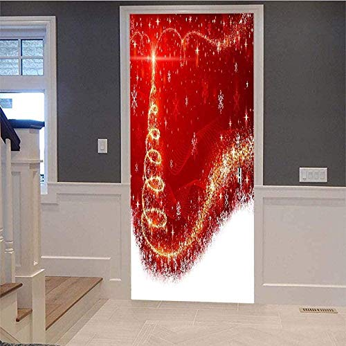 3D Tür Aufkleber Wandbilder Weihnachtsbeleuchtung Dekorative Malerei Wasserdichte selbstklebende abnehmbare Türaufkleber