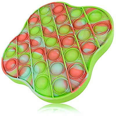 XMY Pop Bubble Sensory Toy [Food Grade Silicone] Pop Game Educational STEM Playing Board Squeeze Sensory Toy for Kids Adults.(Lucky Clover Style-Colorful Red)