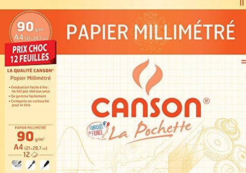 Canson Papier millimétré Marron foncé Format A4 90 g m²
