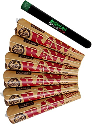 RAW 1 1/4 Classic Rolling Paper Pre-Rolled Cones (6 Packs of 6 Cones, 36 Total) Includes American Rolling Club Doobtube
