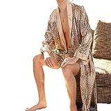 Pantalones cortos de camisón de seda para hombres Conjunto de dos piezas Pijamas de manga larga Albornoz XL para hombres Oro XL