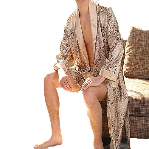 Camisón de seda para hombre, traje de dos piezas, pijama de manga larga, albornoz XL para hombre, dorado XXL