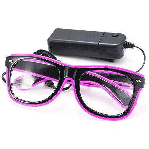SOLMORE EL Wire Drahtbrille Leuchten Brille LED Leucht Sonnenbrille Partybrille mit Batterie Box Lila
