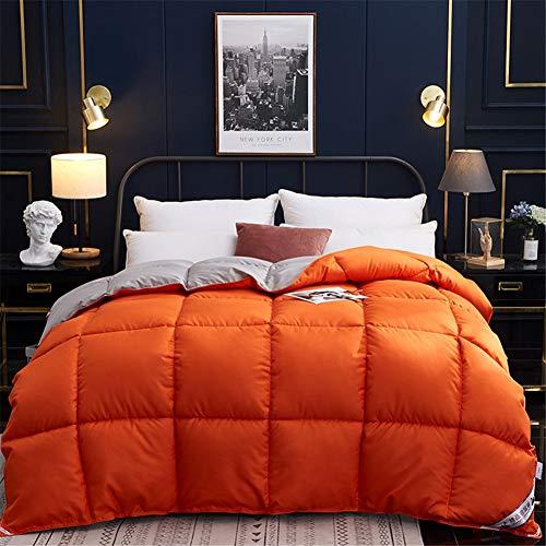 Wxyfl Bedding Bettdecke Daunendecke 220X240 cm Ganzjahres Daunen Decke Hypoallergen Daunen Bettdecke Steppdecke Atmungsaktive und Hautsympathische 3KG,Orange,180x220cm