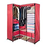 LUCKYERMORE Portable Wardrobe Closets Organizer Cloth Closet Shelves L-Shape Non-Woven Fabric Cover Space-Saving Clothes Organizer Perfect for Bedroom Corner, Red