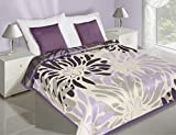 DecoKing 170x210 Creme violett Tagesdecke Bettüberwurf zweiseitig Blumen Cream Violet Blumenmuster L