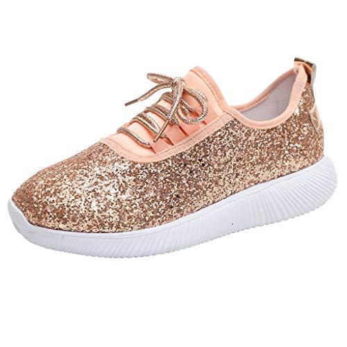 Zapatillas Deportivas Running Mujer de Correr con Cordones y Fondo Suave con Lentejuelas y Lentejuelas Zapatos Casual Ligero y Comodo Athletic Respirabl Sneakers riou