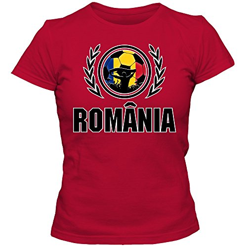 Rumänien WM 2018#2 T-Shirt | Fußball | Damen | Trikot | Tricolorii | Nationalmannschaft, Farbe:Rot (Red L191);Größe:S