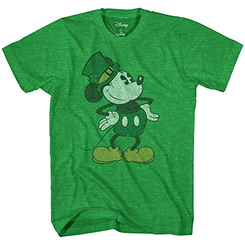 Disney Mickey Mouse Pose St. Patrick's Day Men's Adult Graphic Tee T-Shirt(Kelly Green Heather,Large)