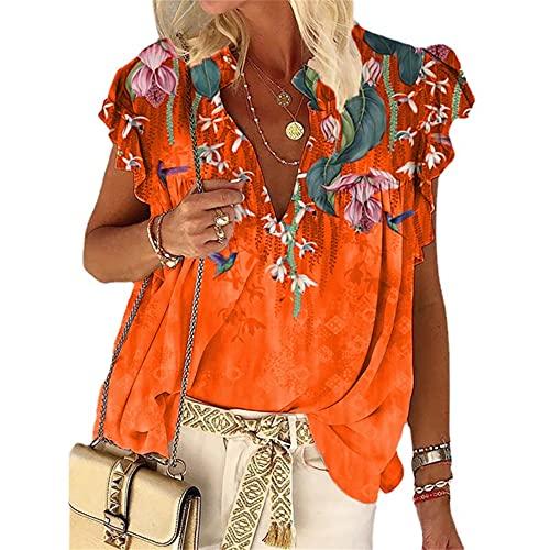 Mayntop Camiseta de verano para mujer con estampado de flores, bohemio, manga corta, cuello en V, talla grande, suelta, étnica