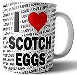 Taza con texto en inglés'I Love Scotch Eggs - Tea - Café' - Taza - Taza - Cumpleaños - Navidad - Regalo