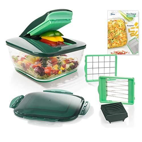 Genius Nicer Dicer Chef (9 Teile) inkl. Tomaten-Gemüse-Schneider Allesschneider Obstschneider Zwiebelschneider Zerkleinerer - für die tägliche bewusste und gesunde Ernährung