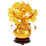 Feng Shui Citrine Crystal Rich Tree Money Tree Feng Shui Gems Quartz Stone for Home Office Home Decoration (Large Size:30cm)