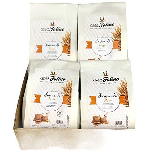 Caja especial de harina. 4 paquetes de harina, harina de maíz, harina de arroz, harina de espelta y harina de cebada. Harina italiana. CasaFolino