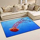 SunsetTrip - Alfombra para sala de estar, dormitorio, diseño de medusas náuticas, suave, lavable, 78,7 x 50,8 cm