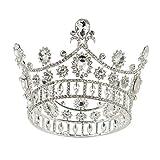 SWEETV Silber Crown Cake Topper, Barock Queen Crown für Frauen, Kostüm Party Zubehör für Hochzeit Brithday Halloween Babyshower Pageant