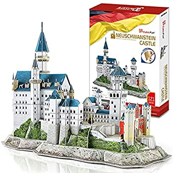 CubicFun 3D Neuschwanstein Castle Puzzles for Adults and Teens Germany Architecture Building Model Kits Toys Stress Relief Gifts for Women and Men 121 Pieces