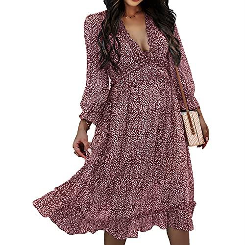 Vestidos Largos para Mujer Vestido Bohemio con Estampado De Cuello En V Vestido Midi De Manga Corta Vestidos De Playa Vestidos De Verano (Vino Tinto+XL)
