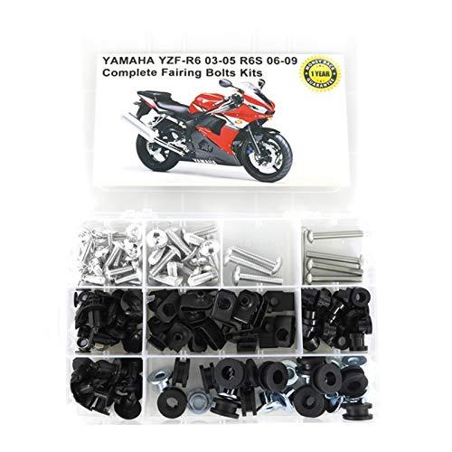 Motocicleta Carenado Completo carenado Tornillos FIT FOR para Yamaha YZF-R6 YZF R6 2003 2004 2005 YZF R6S 2006 2007 2008 2009 Motorycle Complete Completo Pernos de carenado Completo Kit Llegadores de