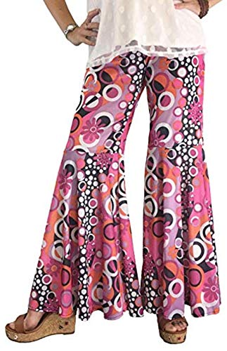 Groovy 60's Hippie Bell Bottom Flared Costume Pants for Women (Plus Size Womens 14-18)