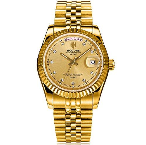 Holuns Herren Quarzuhr Edelstahl Gold Diamant Uhr Wasserdicht mit Kalender
