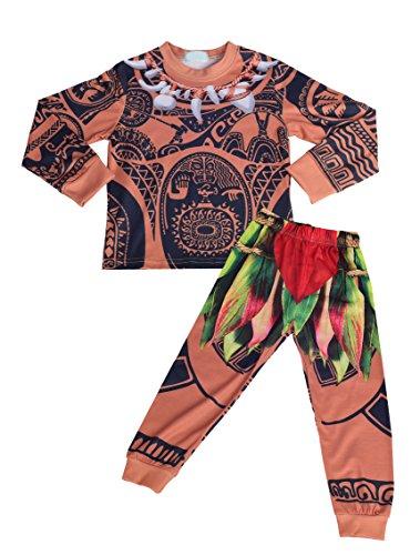 Lito Angels Niños Maui 2 Piezas Disfraces Conjuntos Princesa Moana Disfrazarse Vestido de Fiesta de Halloween Talla 4-5 años