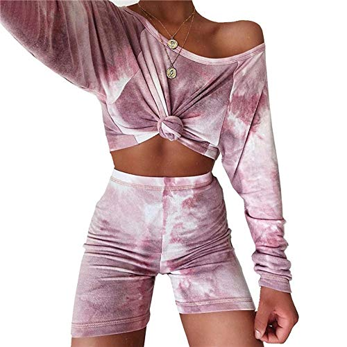 FDJIAJU Nachtwäsche Für Frauen,Krawatte-Farbstoff Print Lila Pjs Sleepwear Set Weiche Warme Teddy Langarm Top Unterteile Shorts Loungewear Casual Jogging Homewear Für Erwachsene Damen Outfits, S