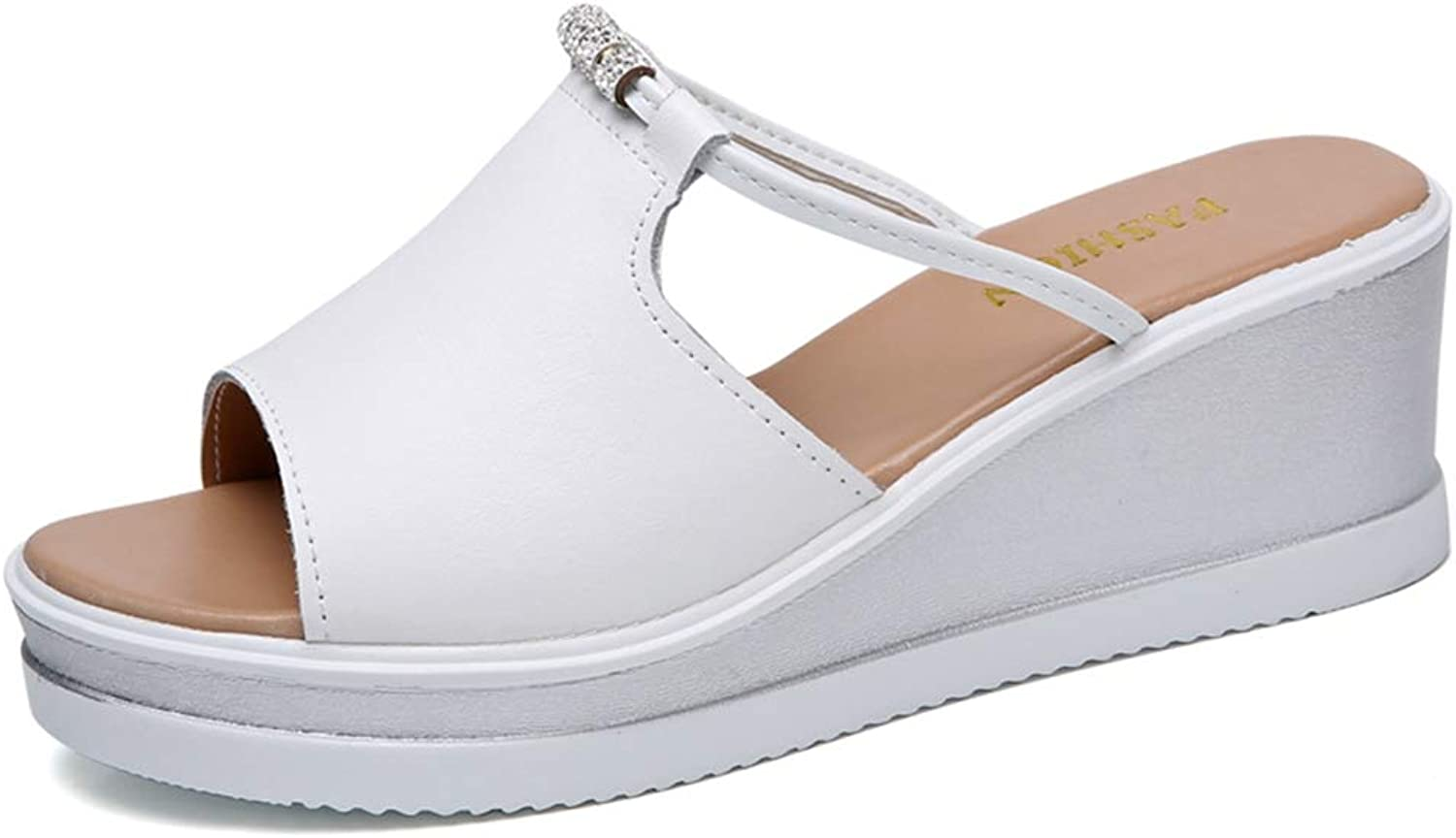 T-JULY Summer Women Slippers Outside Flip Flops Wedges Flat Slides Sandals shoes with Leather Peep Toe Thick High Heel