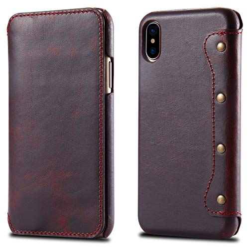 1XINGCHEN Cáscara del teléfono Horizontal Flip Funda de Cuero for iPhone X/XS, con Ranuras for Tarjetas y Monedero, Caso Protector de la Cartera Funda Protectora (Color : Red)